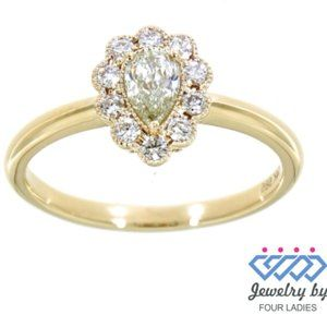 Solid Pear Style Diamond Charm Ring Yellow Gold